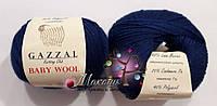 Пряжа Бэби вул Baby Wool Gazzal, 802, т. синий