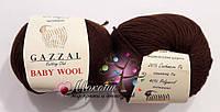 Пряжа Бэби вул Baby Wool Gazzal, 807, шоколад