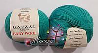 Пряжа Бэби вул Baby Wool Gazzal, 832, изумруд