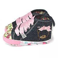 """Нарядные пинетки """"Мишуля"""" для девочки джинсовые (обувь на первый шаг) Berni Джинс"""
