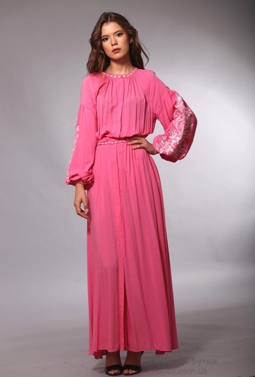 Ніжно-рожева сукня в підлогу з вишивкою Дерево Життя