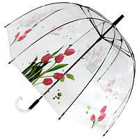 Прозрачный зонт трость Тюльпаны ( механика ) арт. 51570-4