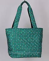 """Стеганая дутая сумка """"Аркадия"""" в горошек цвет зеленый 13х29х29х25 SOR /37-4"""