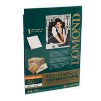 Самоклеящаяся бумага LOMOND универсальная, 1 на листе А4, 210 Х 297мм, 50л (2100005)