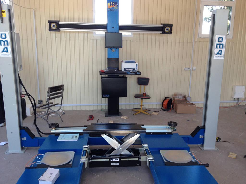 Установка стенда развал-схождения 3 D С800 HPA в паре с четырехстоечным подъемником OMA в Новой Каховке