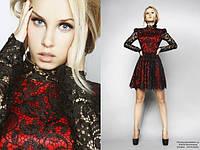 Женское платье мини чёрное с красным