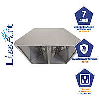 Зонт кухонный приточно-вытяжной островной из оцинкованной стали с жироулавливающим фильтром