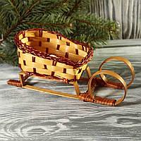 Сани плетенные декоративные (высота 8 см, длина 19 см, ширина 6 см),