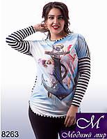 Оригинальная  женская блуза с якорем и голубями  (ун. 48-54) арт. 8263