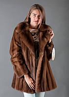 Шуба норковая цвета Swarz в сочетании с мехом чернобурки 2055