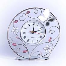 """Модные настольные часы """"Зеркальная бабочка"""" Charme de femme 300-CK, белый"""