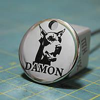 Адресник-кулон для собаки диаметр 32 мм серебристый