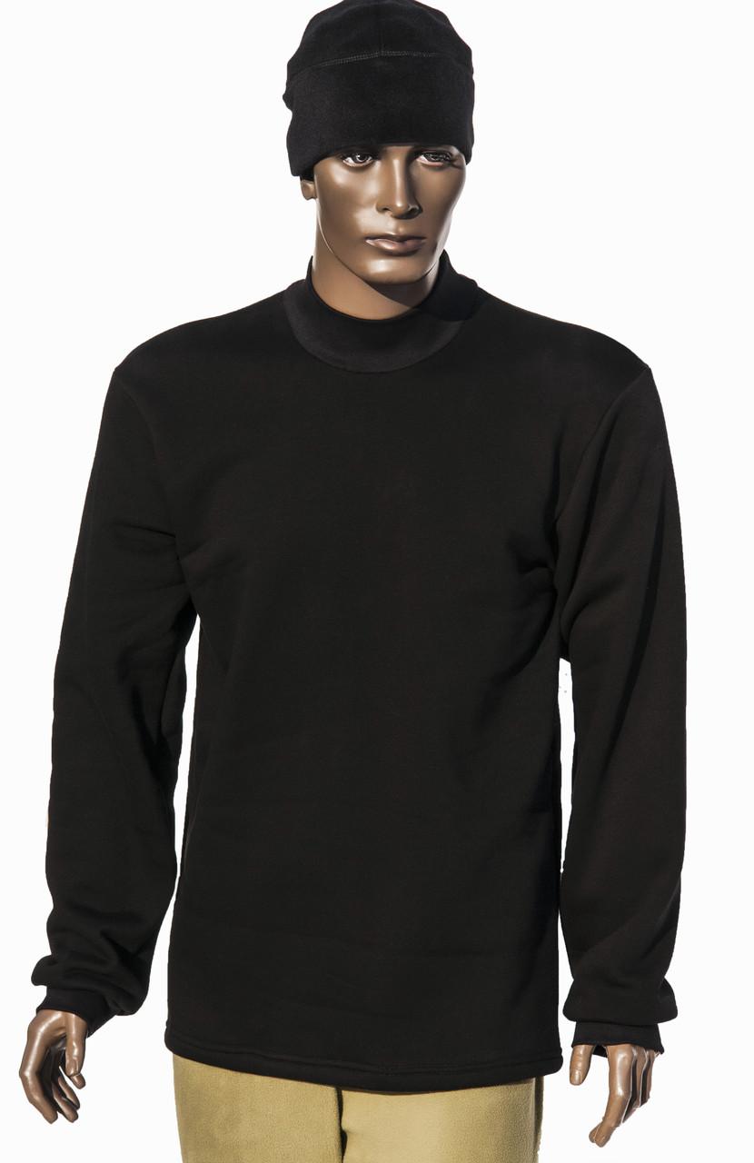 Гольф - черный  утепленный с начесом (100х/б 220г/м2)