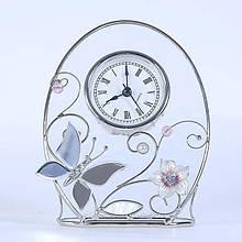 """Кварцевые настольные часы """"Колокольчики и зеркальная бабочка"""" Charme de Femme 320-CK, прозрачный матовый"""