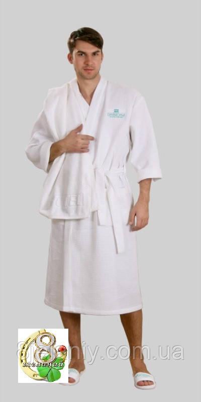 Халат белый вафельный мелкая клетка р. XXL, фото 1
