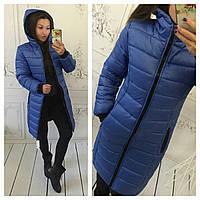 Женский пуховик пальто синее 46 48 50 52 54