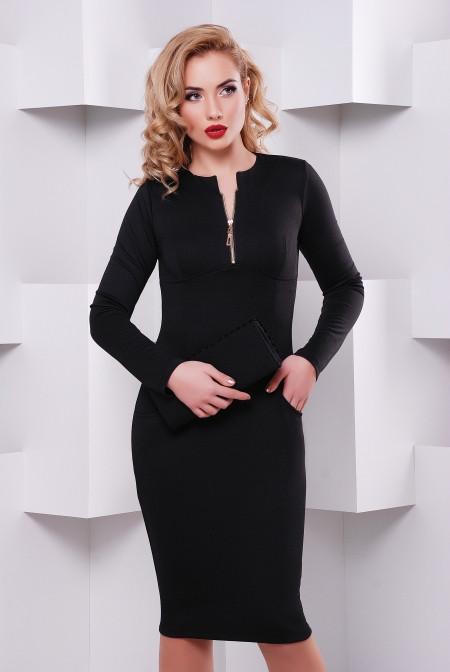 0a27e7bc683 Женское трикотажное черное платье с длинным рукавом Жасмин Lenida 42-50  размеры - Интернет-