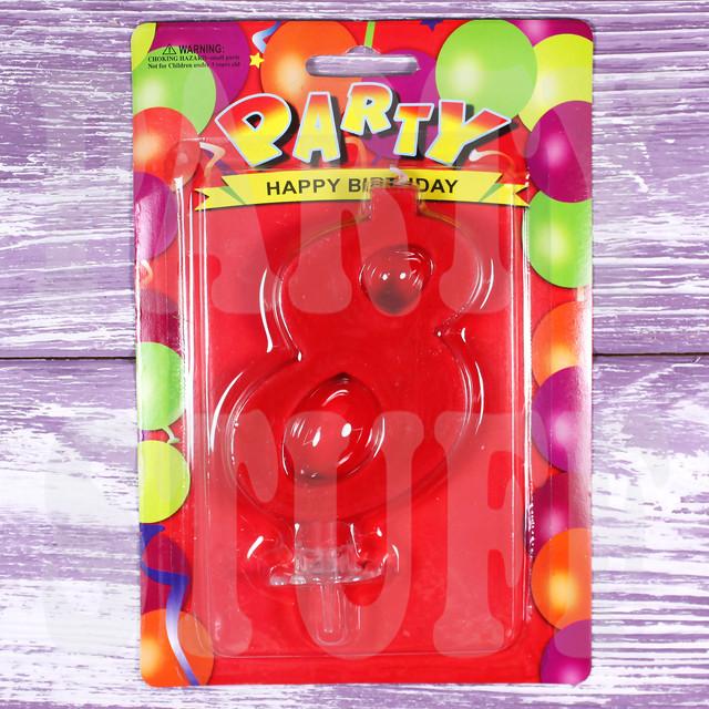 Свеча для торта цифра 8 красная