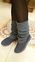 Модные  зимние сапоги - чулки серого цвета