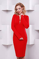 Женское красное трикотажное платье с длинным рукавом Жасмин  Lenida 42-50 размеры