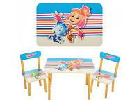 """Детский стол со стульями """"фиксики"""" из дерева"""