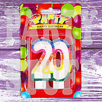Свеча-цифра юбилейная радуга, 20 лет