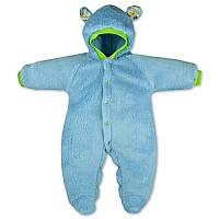 Детский теплый комбинезон Панда с капюшоном, на кнопках, на рост - 62, 68, 74, 80 см. (арт.12-03гол)