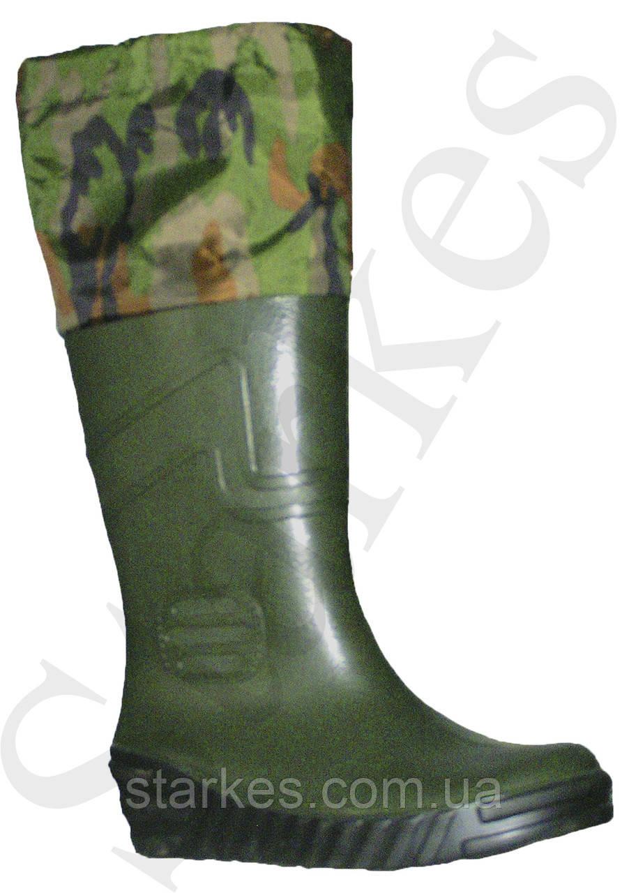 Сапоги резиновые зеленые с надставкой камуфляж