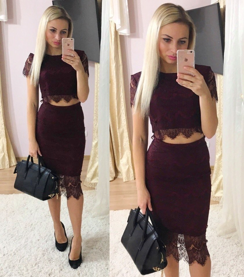 Топик кружевной и юбка