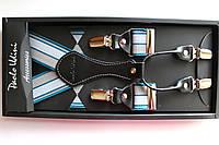 Подтяжки кожаные 'Topgal EXCLUSIVE' бирюзовые с полосками