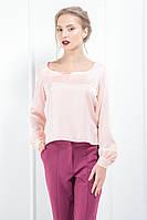 """Блуза декольте шовк-сатин """"Soft"""" рожевий рожевий, m"""