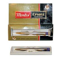 Ручка MONTEX CROMA ПОДАРОЧНАЯ в пластиковом футляру, металлич., автомат, синий