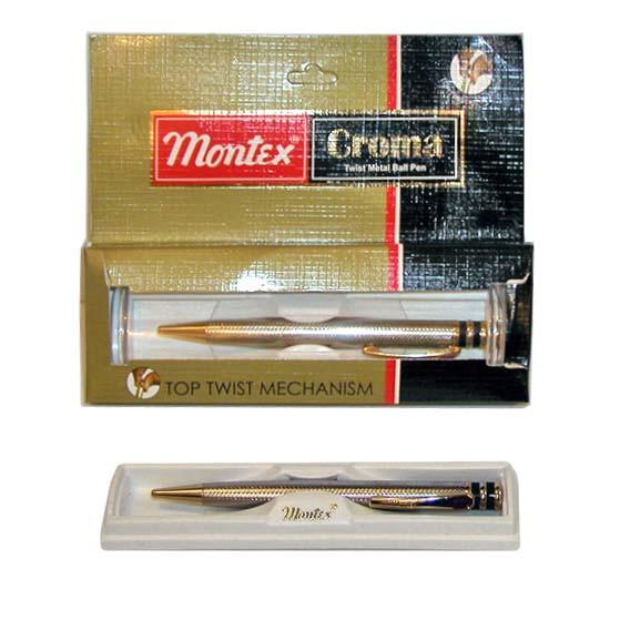 Ручка MONTEX CROMA ПОДАРОЧНАЯ в пластиковом футляру, металлич., автомат, черный