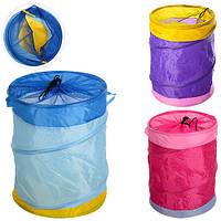 Корзина для игрушек M 2507 диаметр 35 см, высота 41 см, 2 ручки, на шнурке, 3 цвета, в кульке,37-37-2 см