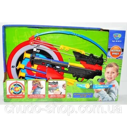 Арбалет M 0010 (12шт) стрелы на присосках, прицел, лазер, мишень, колчан, в кор-ке, 46,5-29-7см