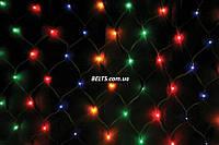 Гирлянда в виде сетки 260 лампочек LED (разноцветная сетка-гирлянда размер 2*2м)