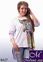 Ассиметричная женская блуза с кошкой (ун.48-54) арт. 8427