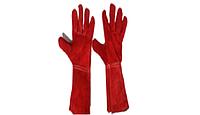Перчатки краги красные теплые длинные