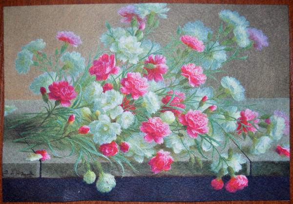 ПФ4-002. Фетр с принтом Цветы (20х30 см, 1мм)