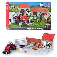 Ферма 1415889 (3шт) 18 дет, трактор с прицепом, фигурка, животные, в кор-ке, 61-38-10см