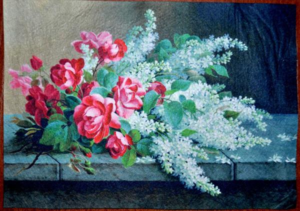 ПФ4-010. Фетр с принтом Цветы (20х30 см, 1мм)