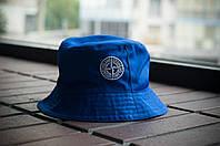 Панама Stone Island, шляпа мужская летняя панама Мужской, синий, белый