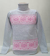 Свитер-гольф  Many&Many серо-розовый,Камни+Бусины