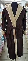 Халат мужской махровый Velsoft  (TM Zeron) коричневый с бежевым