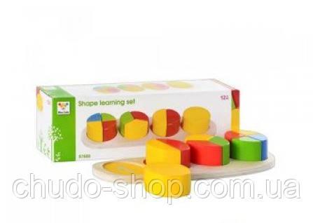 Деревянная игрушка Геометрика MD 0507 (48шт) в кор-ке, 29-9,5-6,5см