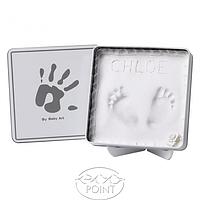 Магическая коробочка с отпечатком квадратная бело-серая, 1 шт, Baby Art