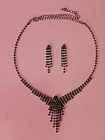 Стильное колье и серьги  из черных камней, фото 1