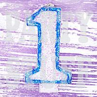 Свеча цифра для торта Голубая 1