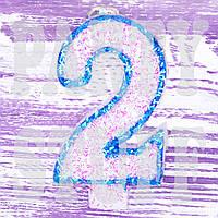 Свеча цифра голубая 2