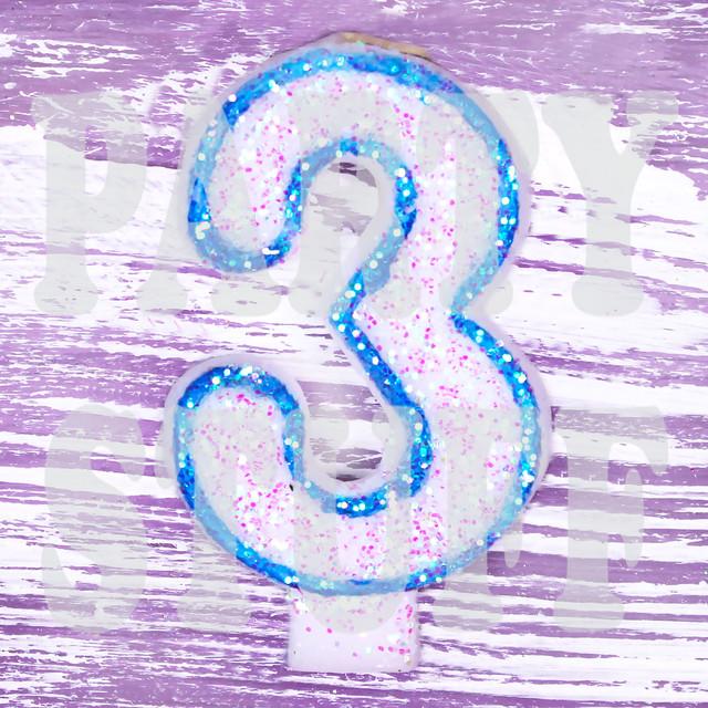 Свеча-цифра для торта голубая 3